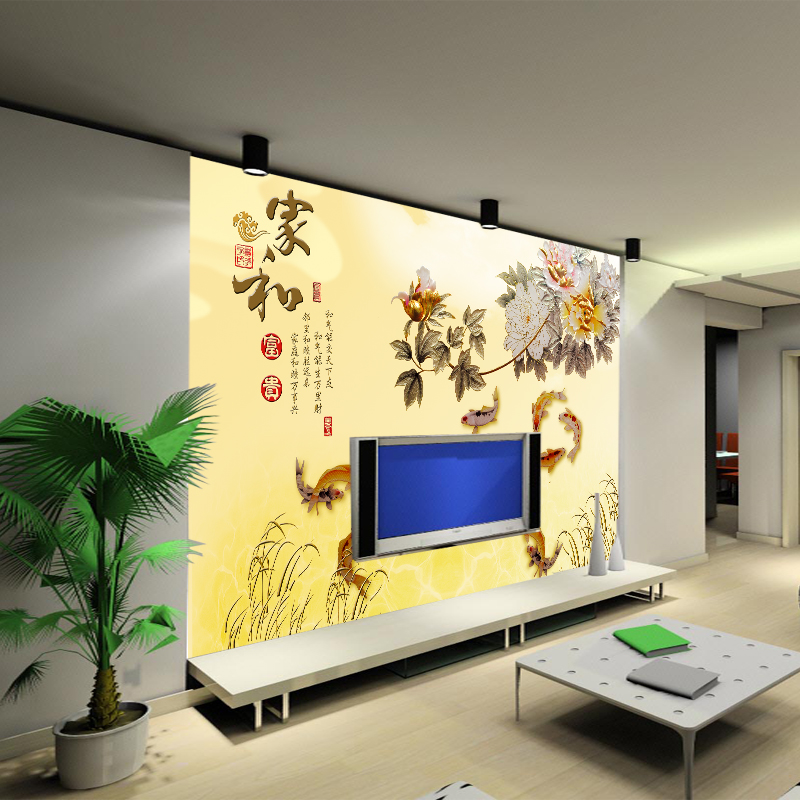 Arts and homes seamless wallpaper mural of modern chinese family and wealth nine fish figure peony wallpaper background wallpaper the living room sofa