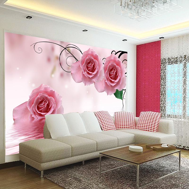 Arts and homes stereoscopic 3d seamless wallpaper mural wall stickers modern minimalist romantic pink roses flower bedroom wallpaper background wallpaper