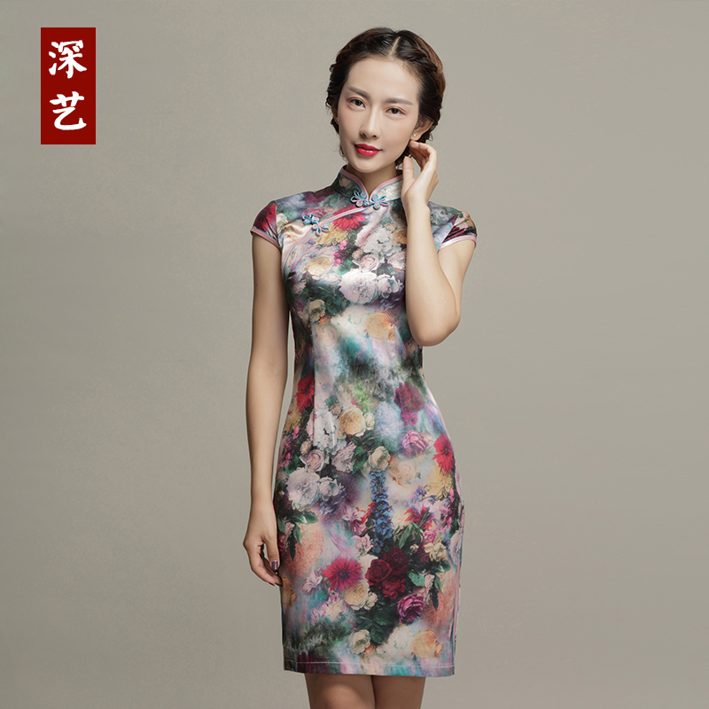Arts deep mulberry silk cheongsam dress fashion improved cheongsam dress short paragraph was thin dress retro elegance