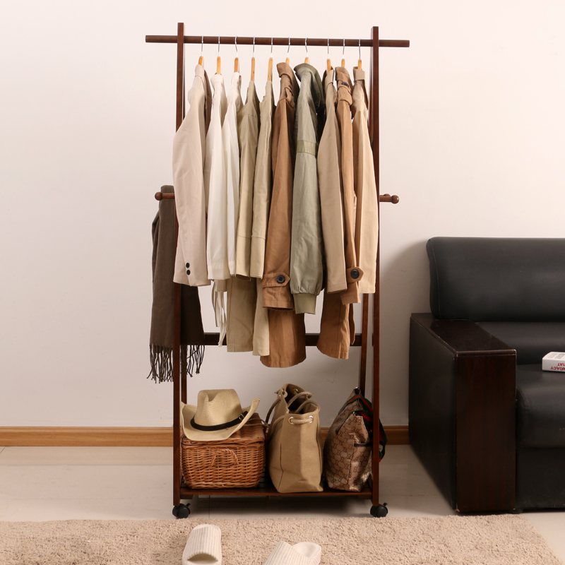 Arts liuyuan pastoral creative minimalist bedroom floor wood coat rack hanger multifunctional mobile hanger free shipping