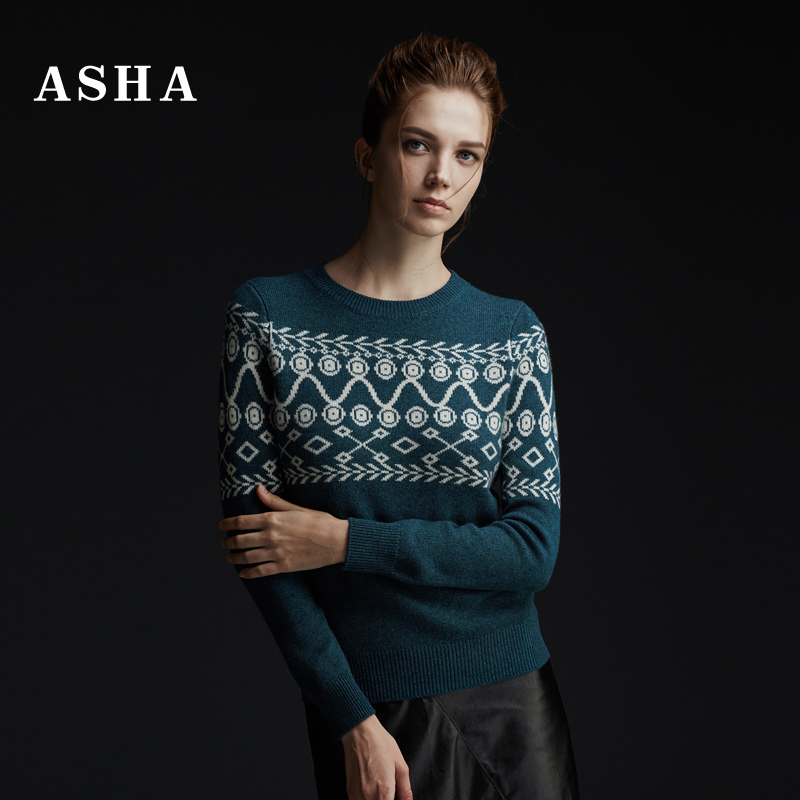 Asha/love 2016 new winter sweater pure cashmere sweater female european style basic models thick knit sweater woven flowers
