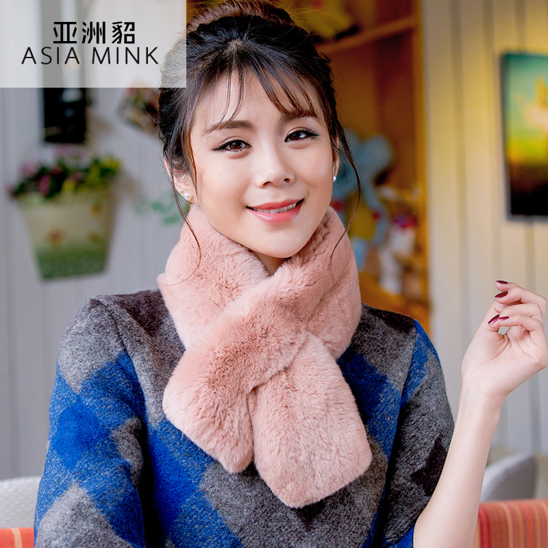 Asian mink fur 2015 winter new rex wool scarf female rabbit fur scarves female solid color scarf to keep warm