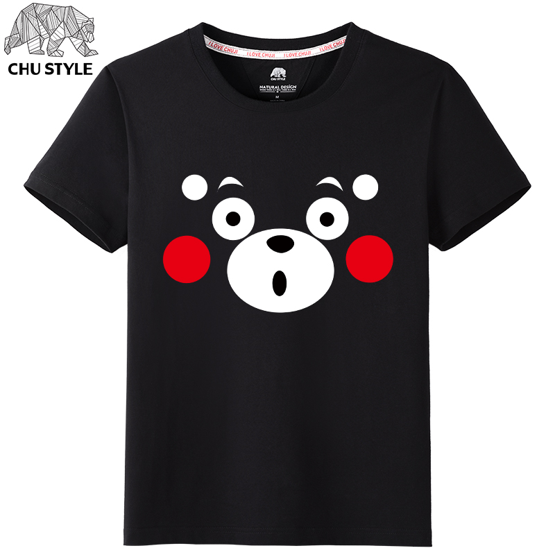 At the beginning of own cartoon kumamoto adorable bear mascot couple short sleeve t-shirt men's summer cotton round neck t-shirt printing tide