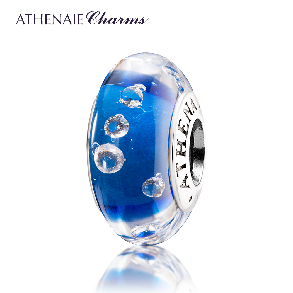 Athenaie italian glass core tube 925 silver inlaid more drilling ryukyu glass multicolor beads transfer beads to send girlfriends