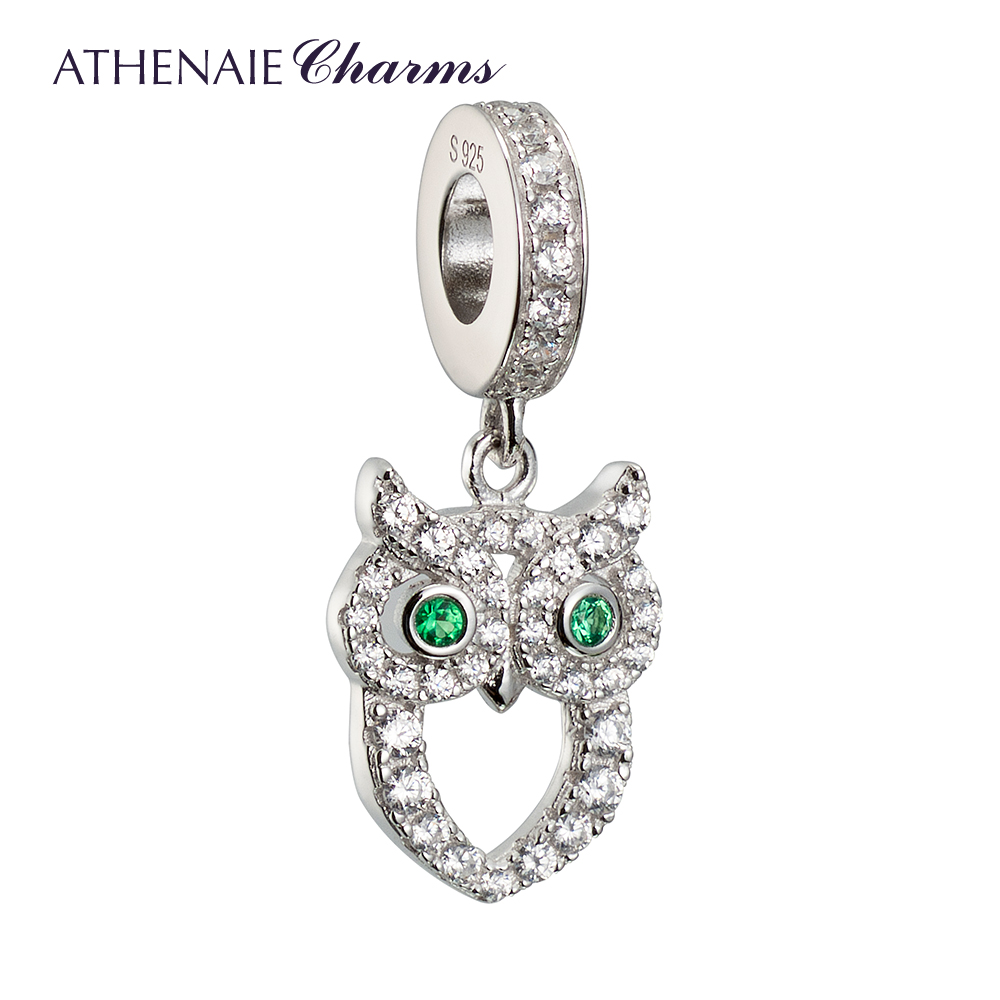 Athenaie owl 925 silver inlaid rhodium zircon pendant diy bead chain infrastructure female couple models