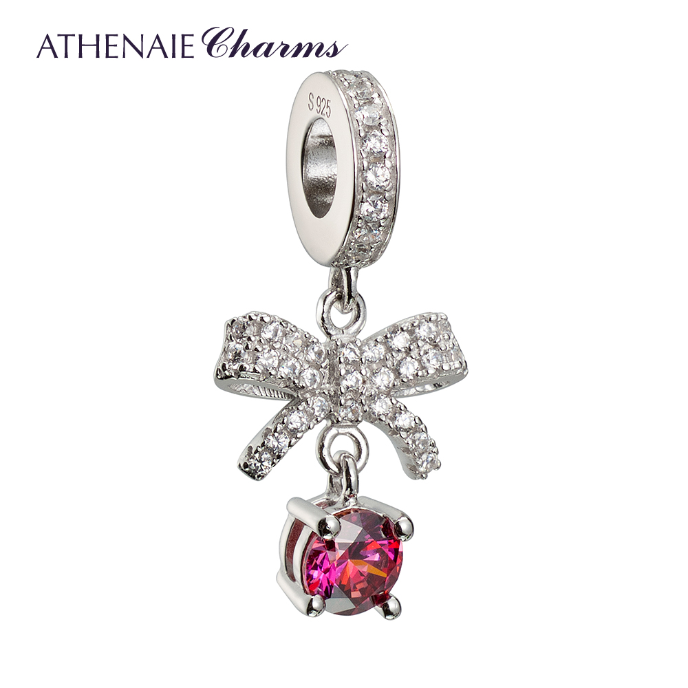 Athenaie925 rhodium silver inlay zircon bow love pendant diy with basic chain to send his girlfriend
