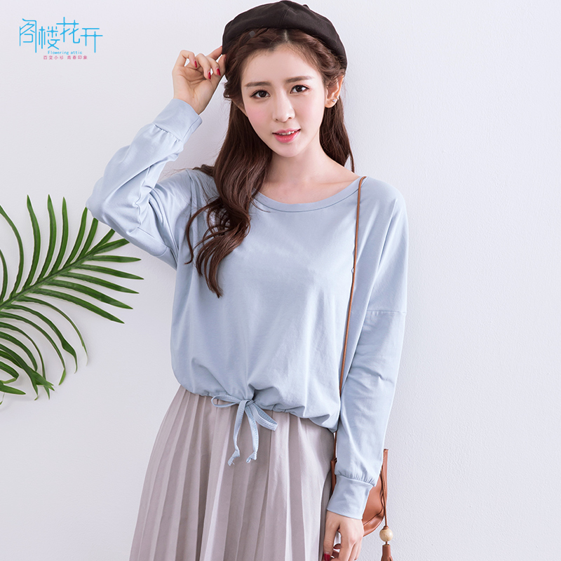 Attic flowers fall new korean version of the bat loose long sleeve solid color round neck blouses department waist short paragraph cotton t-shirt