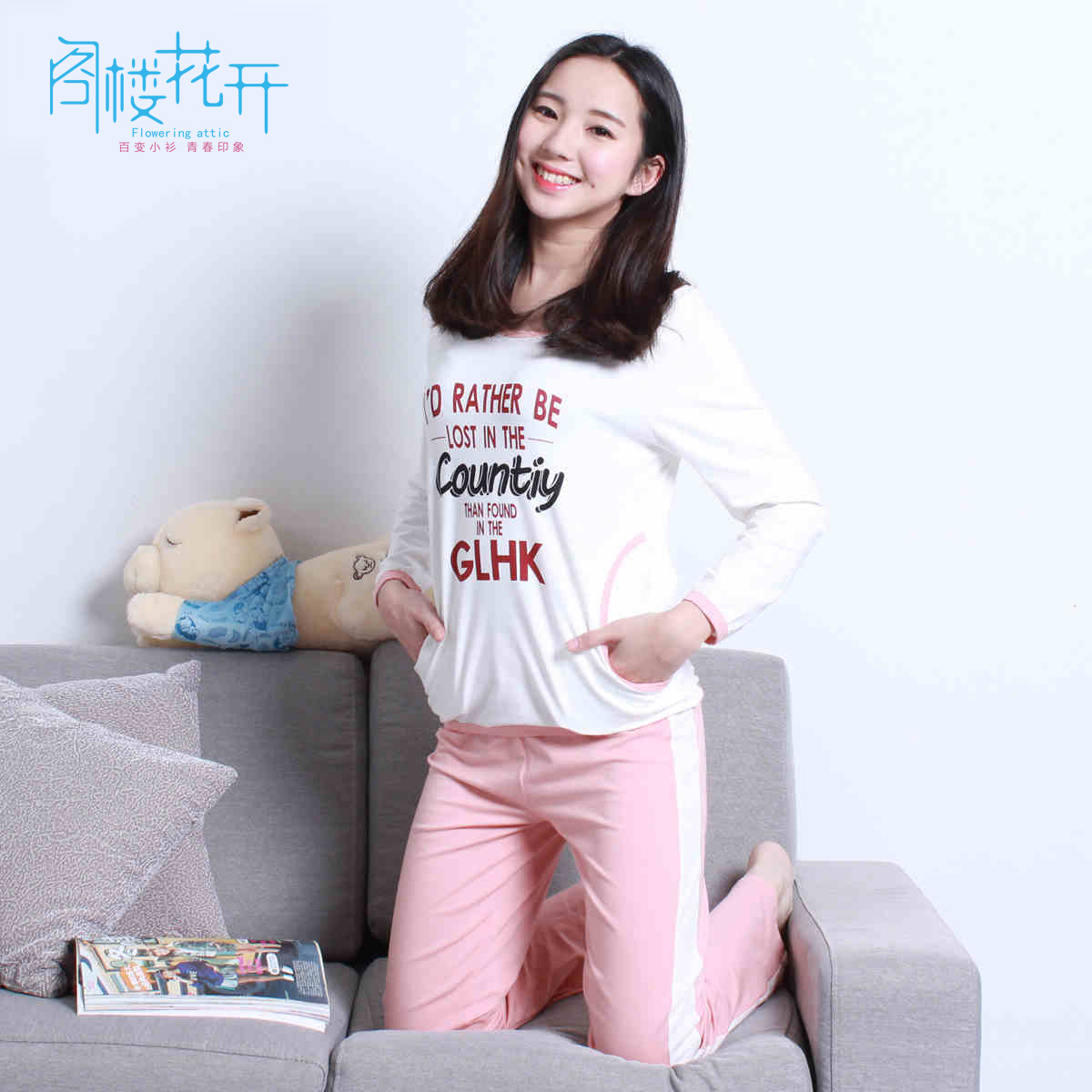Attic flowers fall new women's suits korean version of the printed t-shirt can waichuan loose pocket movement piece