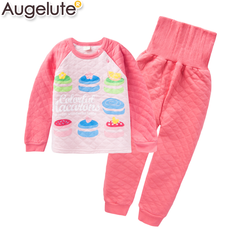 Augelute spring new boys and girls home warm pajamas belly baby care kit set 41308