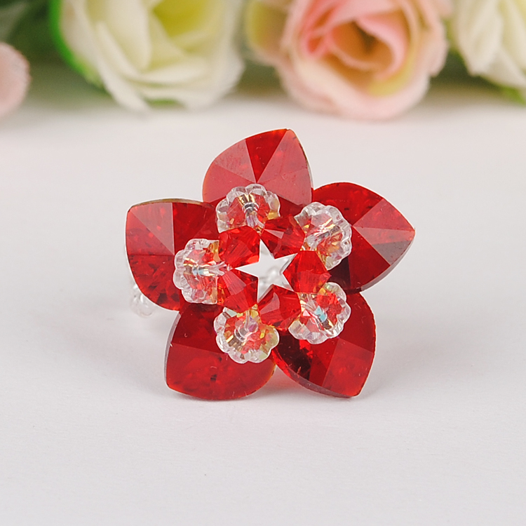 Austria imported crystal heart heart lotus ring diy handmade beaded jewelry original material package