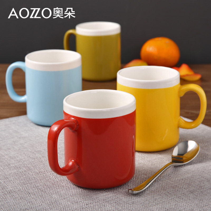 Austrian duo color creative couple simple ceramic mug cup milk cup ceramic cup coffee mug cup handy cup