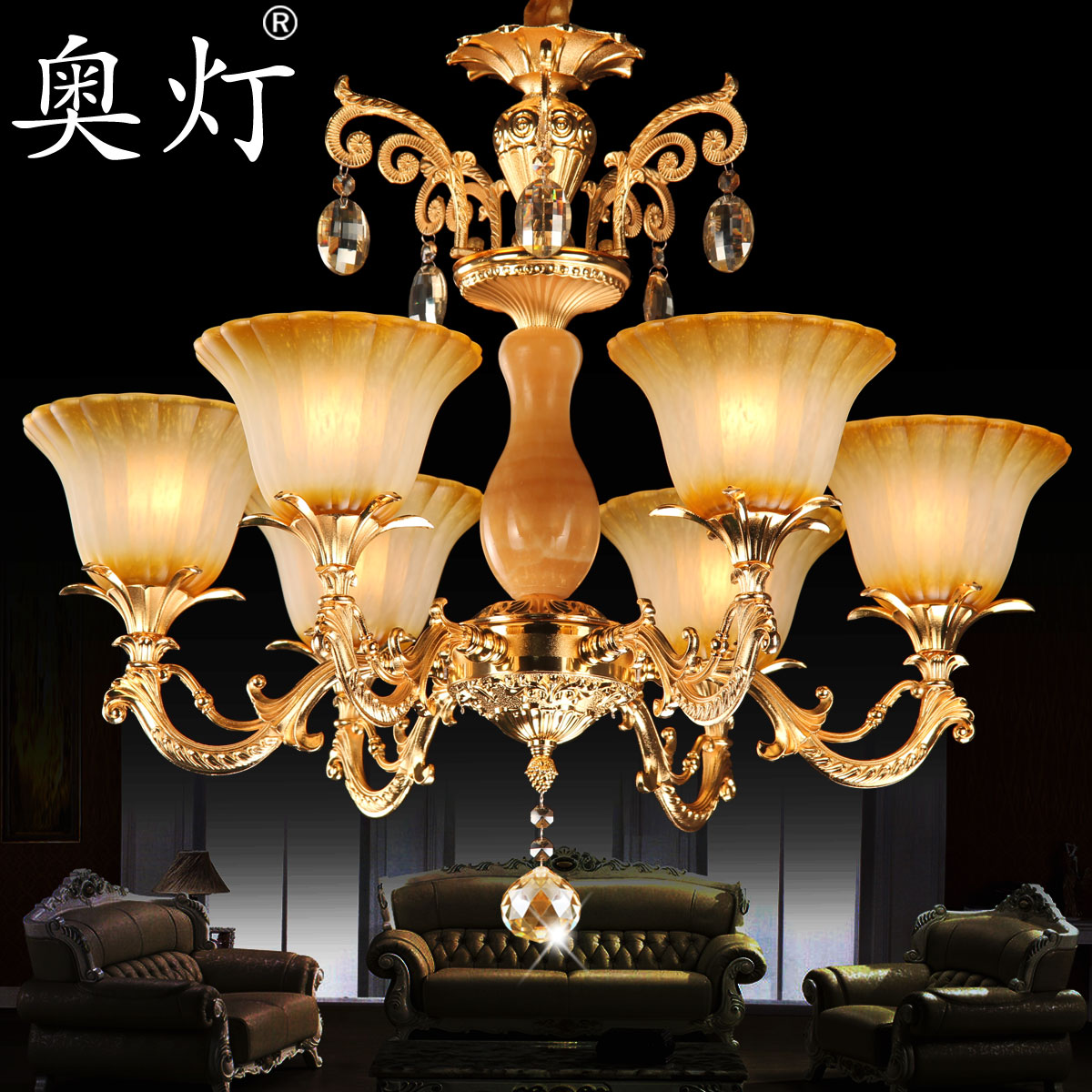 Austrian lamp zinc alloy european crystal chandelier modern minimalist villa living room dining room bedroom book droplight 1995
