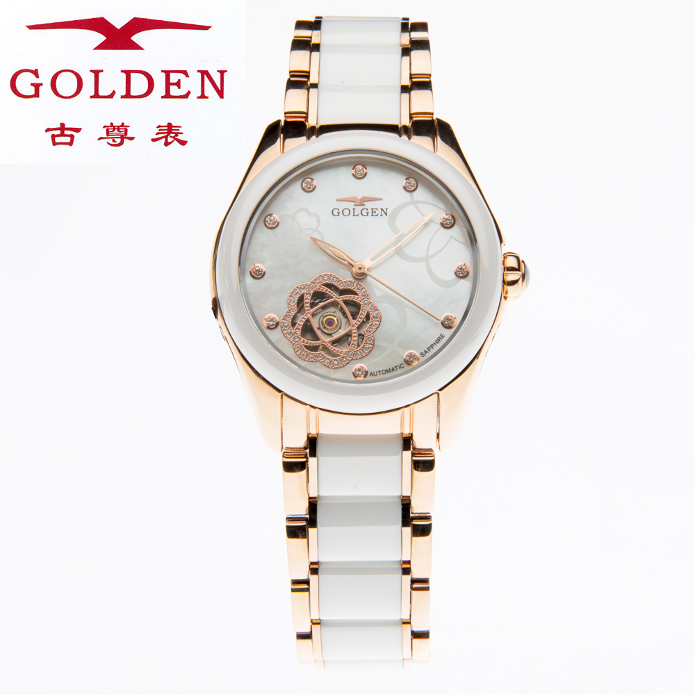 Authentic ancient statue 6083 l grade ceramic between automatic mechanical watches rose gold female form through the end of hollow sapphire