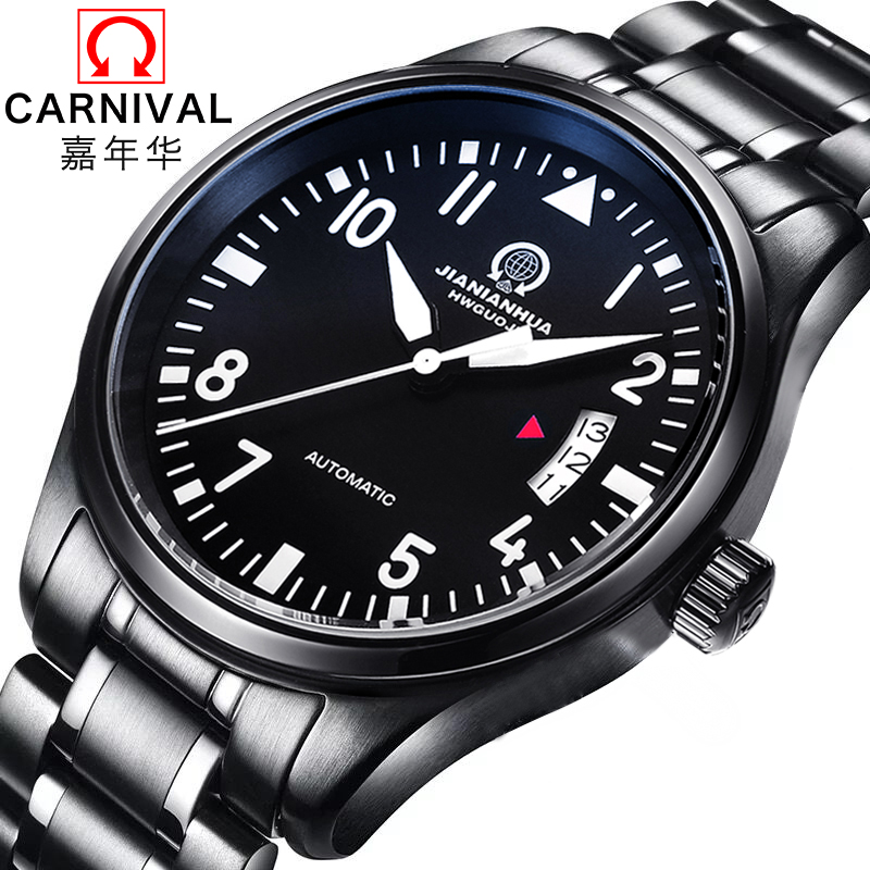 Authentic carnival luminous automatic mechanical watches men watches men waterproof stainless steel male watch fashion classic celebrity endorsements