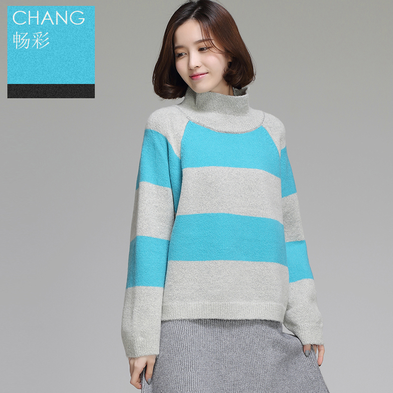 Get Quotations · Autumn and winter black and white wide stripe knit sweater  short paragraph female turtleneck sweater hedging de422e02b