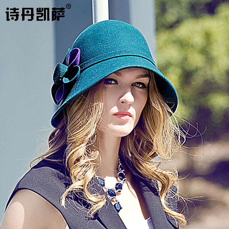 5f2a84a3f1b Get Quotations · Autumn and winter bow wool hat dome hat korean tidal ms.  repair face shape pots