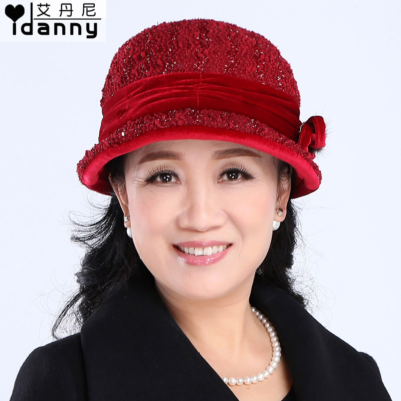 Autumn and winter hat in the elderly grandmother hat middle-aged mom hat bucket hats hat cap elderly warm quilted ms. ceremony