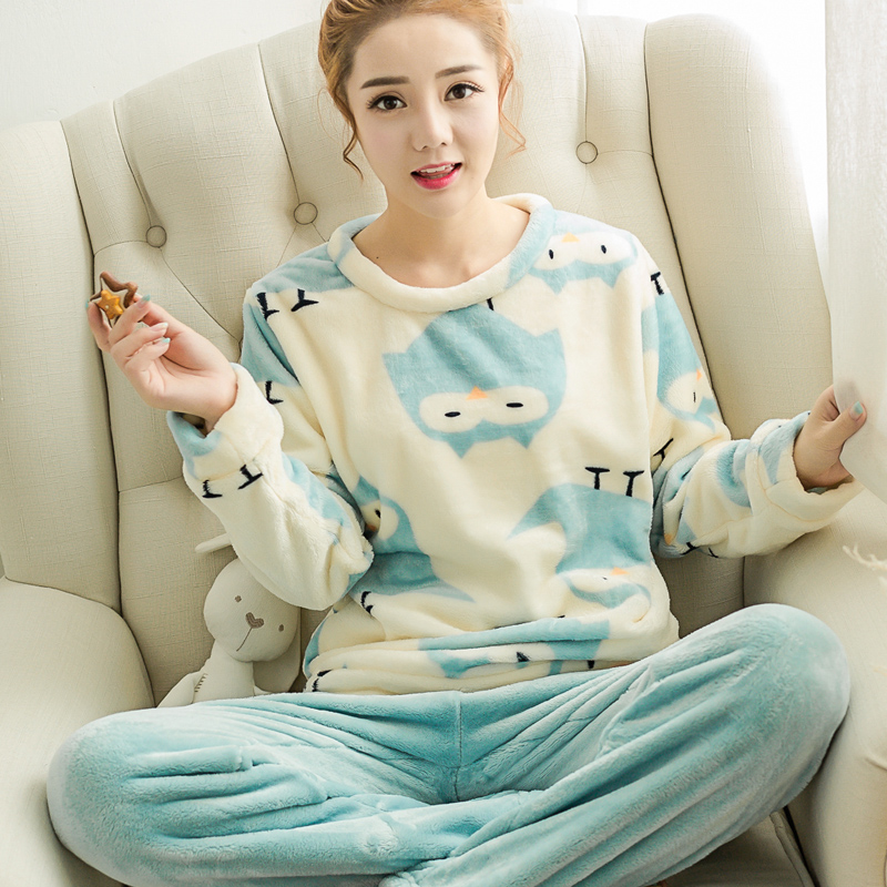 Get Quotations · Autumn and winter hedging thick japanese female coral  velvet pajamas long sleeve pajamas cute female flannel 3443e0c16