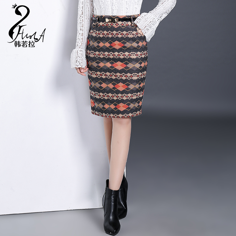 45700cb3ed4 Get Quotations · Autumn and winter high waist plaid woolen skirts package  hip skirt step skirt with belt was