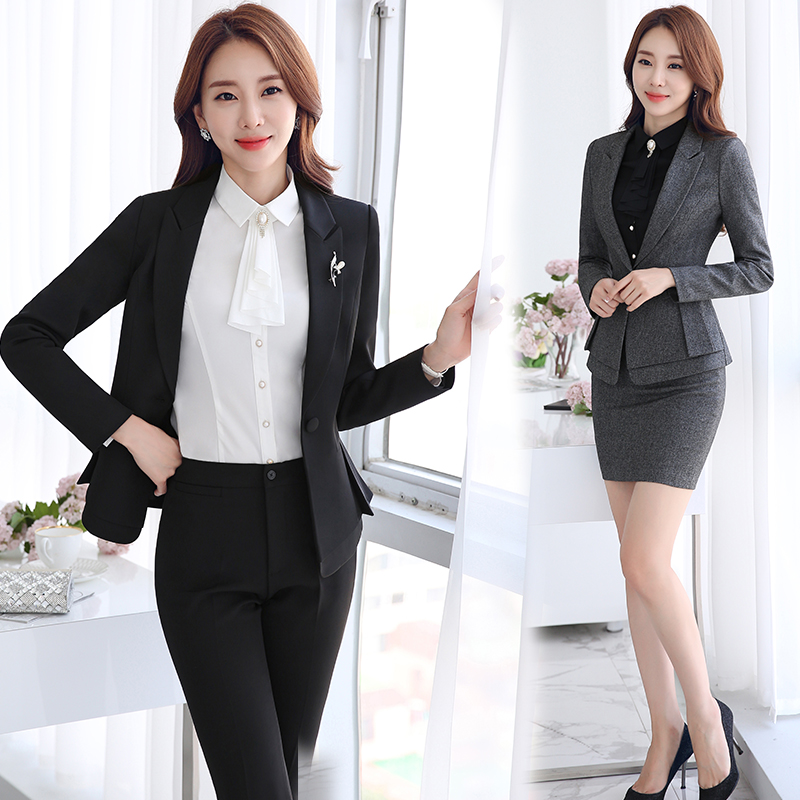 Autumn and winter long sleeve ladies suit collar ladies wear skirt suits chaps surface try dress suits hotel uniforms