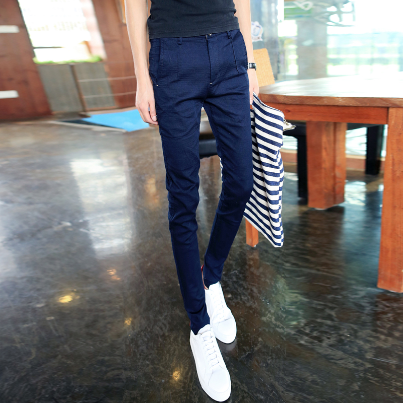 Autumn and winter men's black casual pants slim korean version of casual trousers slim pants feet pants influx of male fashion slim casual pants