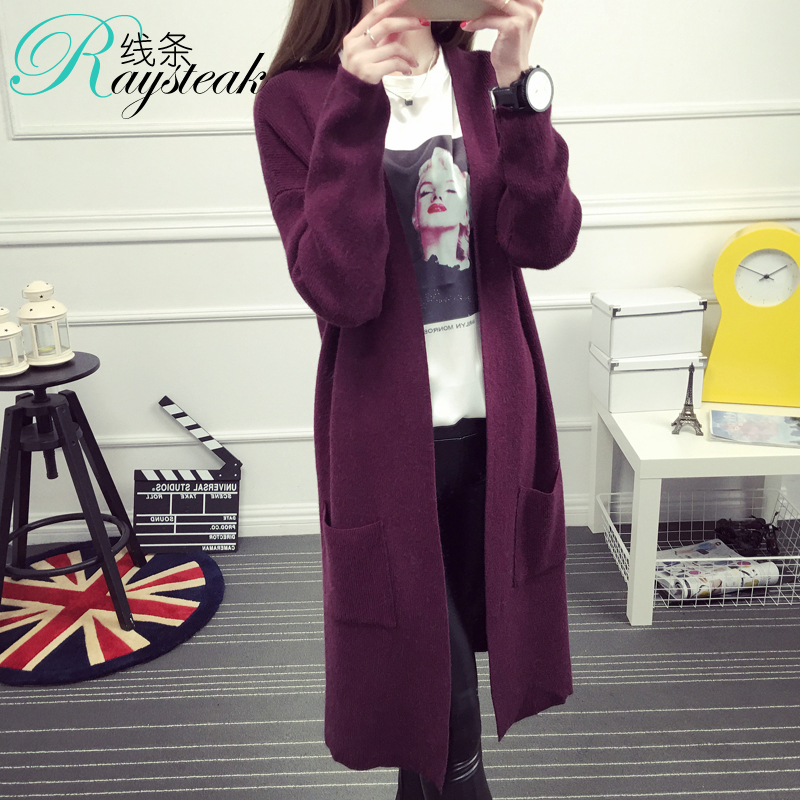 Autumn and winter new women korean female cardigan sweater long section of loose thick sweater coat female autumn sweater