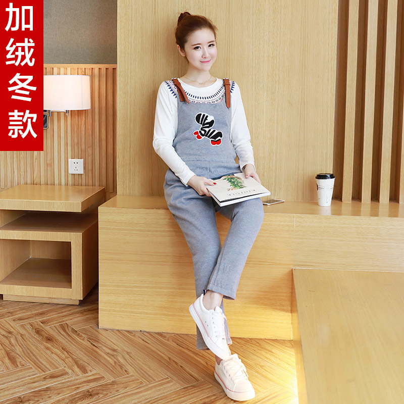 Autumn and winter plus velvet pregnant women pregnant bib overalls big yards thick korean tidal mother dongkuan loose overalls casual trousers care of pregnant women