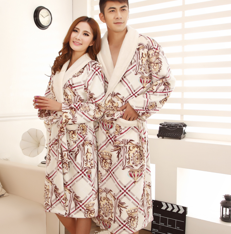 Autumn and winter thick flannel nightgown bathrobe couple models male ms. coral velvet pajamas tracksuit large yard