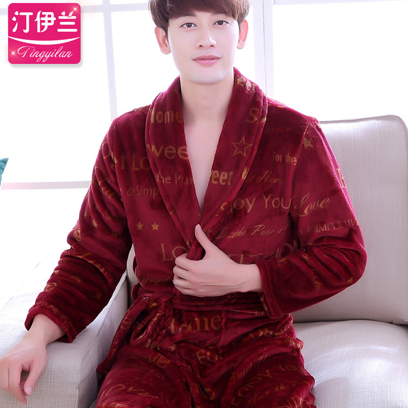 64eb2b9845 Get Quotations · Autumn and winter thick flannel nightgown pajamas men long  sleeve tracksuit coral velvet bathrobe bath robe