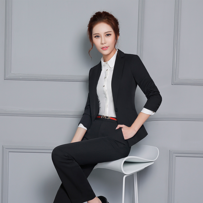 Autumn and winter wear chaps sleeved blouses clericai interview suits the hotel front desk manager sleeved overalls female