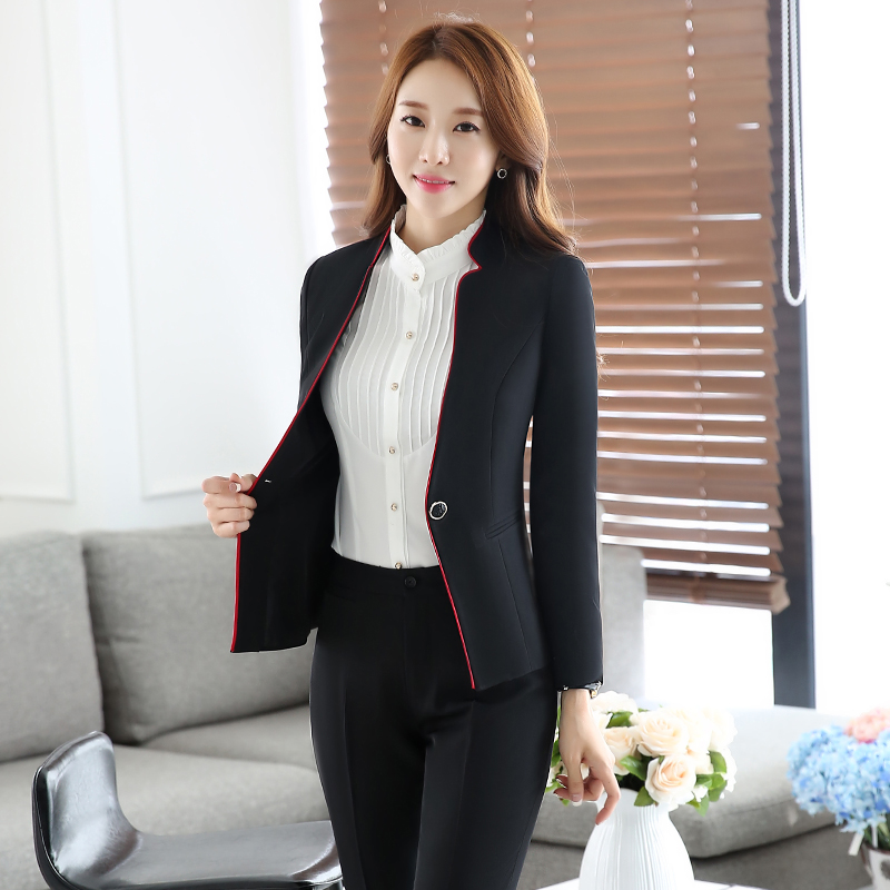 Autumn and winter wear chaps sleeved female clericai interview suits the hotel front desk manager sleeved overalls female