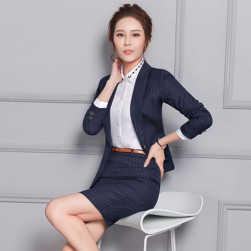 Autumn and winter wear skirt suits chaps interview female hotel front desk manager sleeved clericai sleeved overalls female