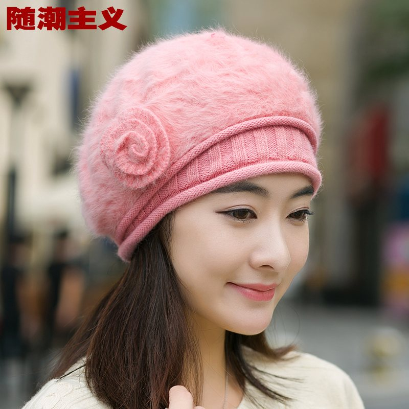 Autumn and winter wool hat female korean tidal paul warm thick solid color rabbit fur hat beret knitted ear cap flowers