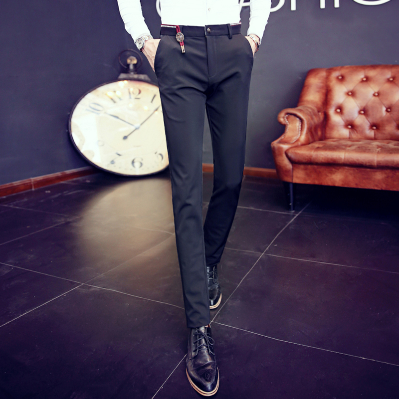 Autumn black casual pants tapered pants korean slim iron business casual pants slim solid color slim casual pants