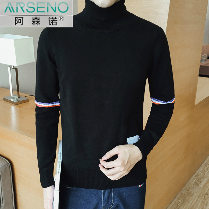 Get Quotations · Autumn black turtleneck sweater hedging cotton sweater bottoming sweater tide male korean version of casual men