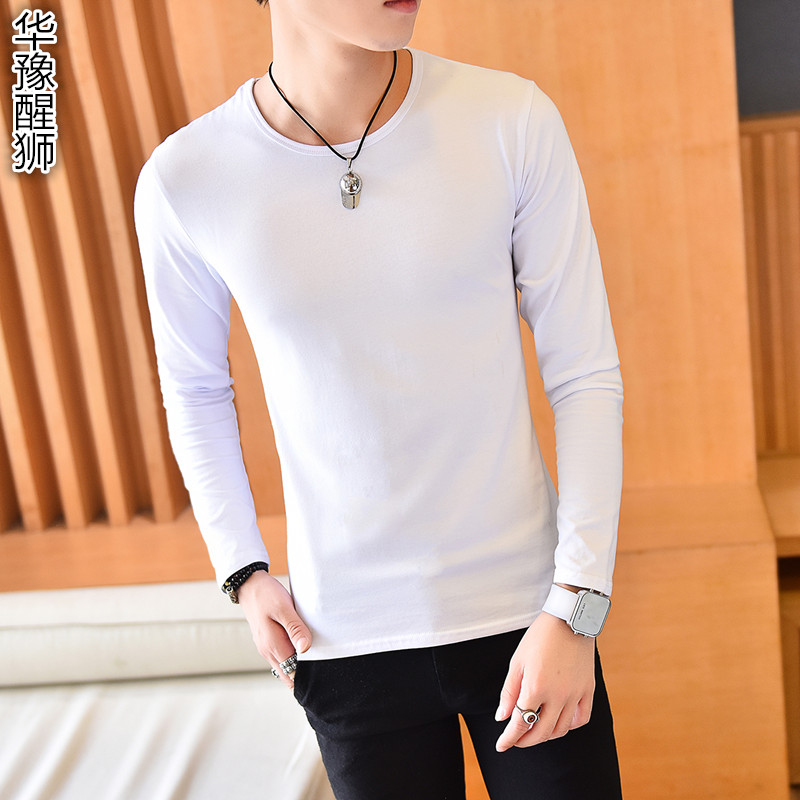 Autumn cotton long sleeve white t-shirt men korean slim hedging solid round neck black shirt bottoming compassionate men