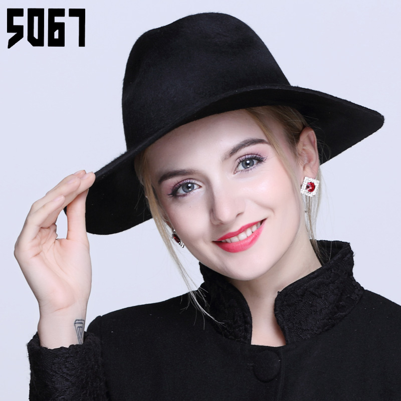 Autumn hat female british retro wool fedora hat large brimmed black winter personality wild tide jazz hat bucket hats
