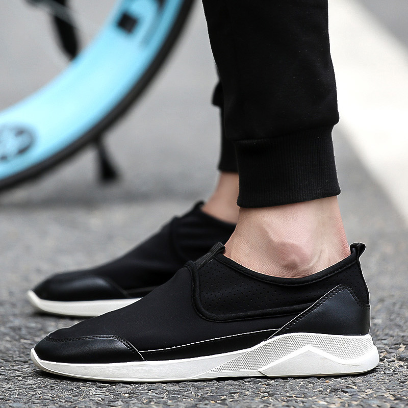 Autumn korean version of men's casual shoes tide shoes a pedal elastic carrefour shoes boys shoes tide shoes lazy pedal