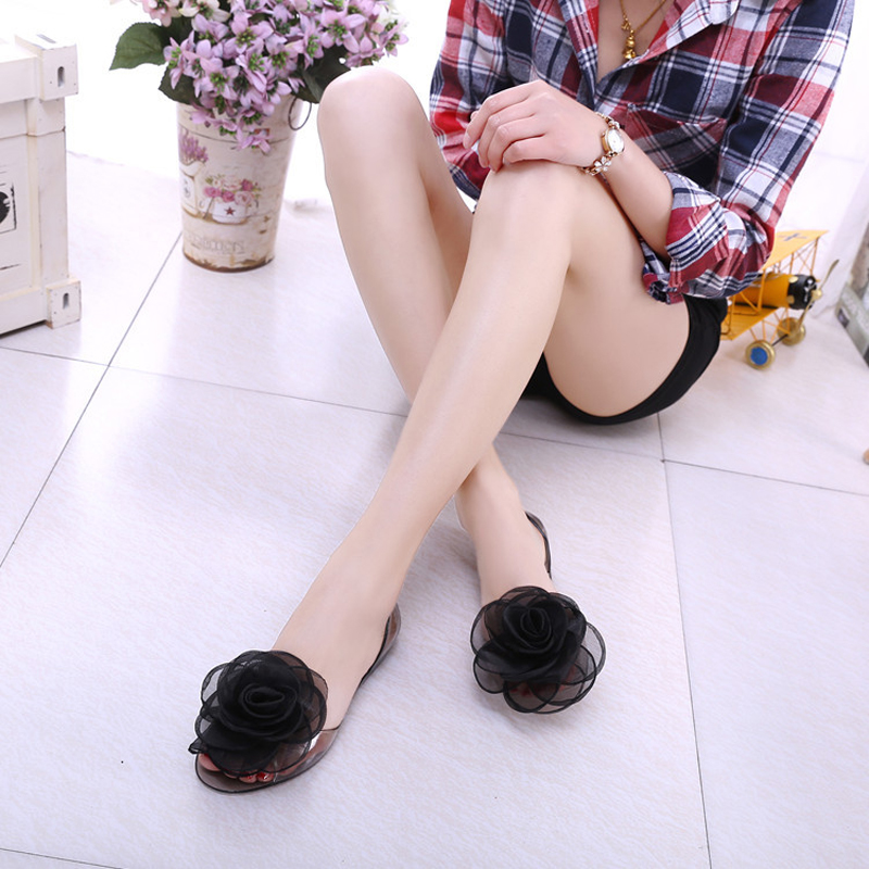 e9abc4c631f1 Get Quotations · Autumn latitude camellia big flowers sweet summer shoes  crystal clear jelly shoes flat fish head with