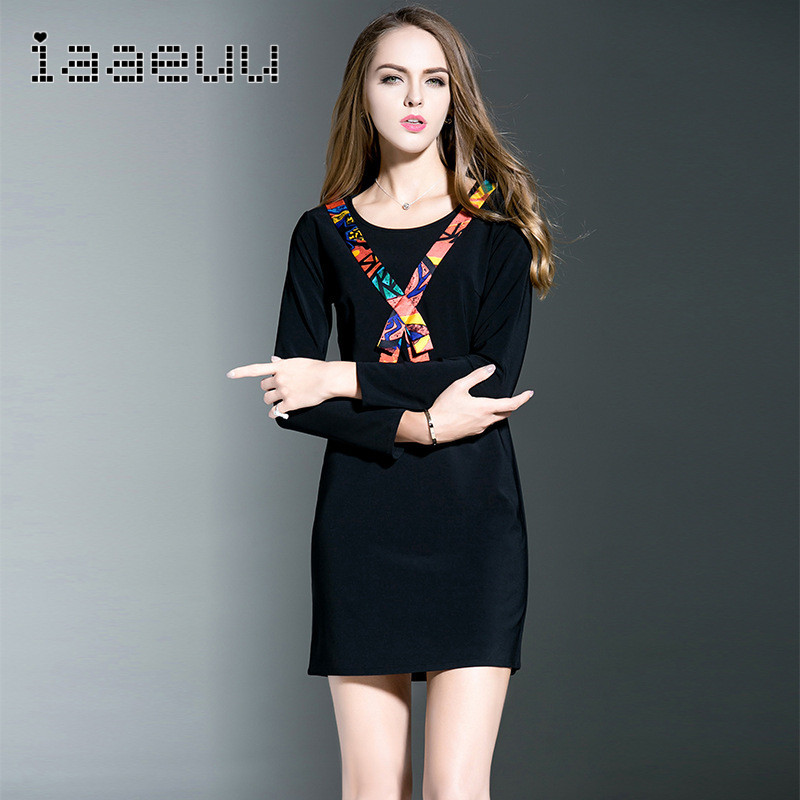 Autumn new european and american fashion IAAEUU2016 black fertilizer to increase the large size dress fat mm skirt 8105