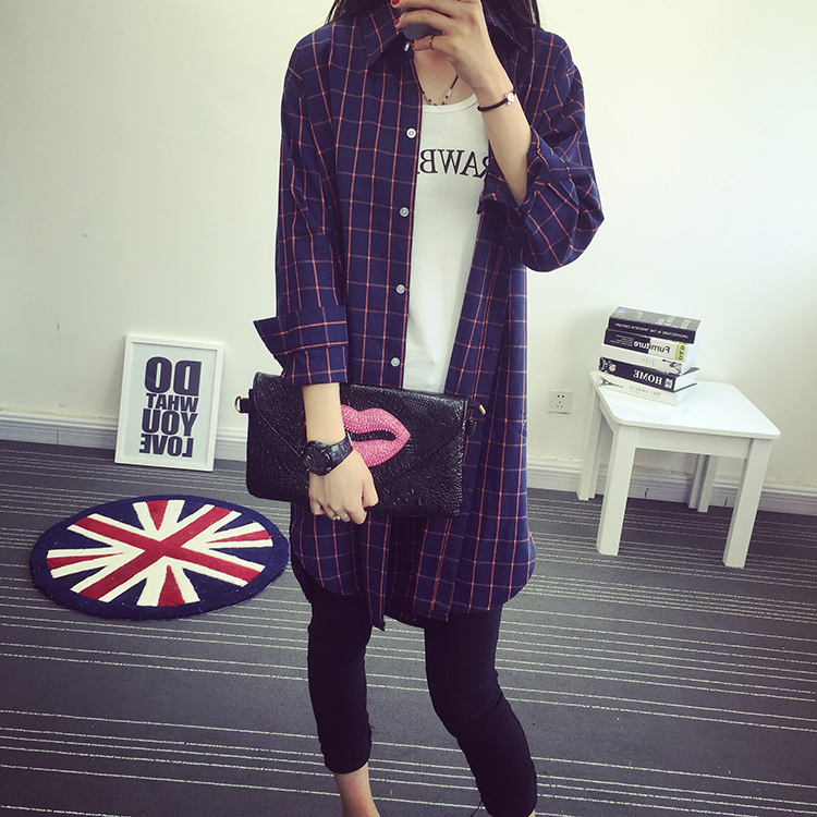 Autumn new korean version of the long aunt sleeved cotton plaid shirt female loose casual bottoming shirt female tide