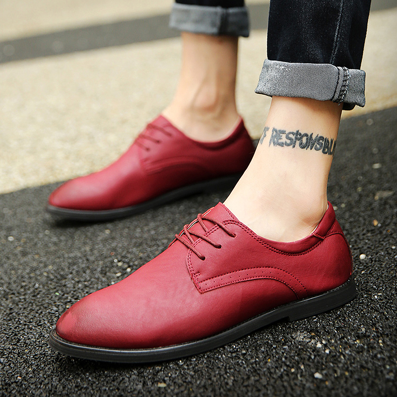 0c1b7905d495 Get Quotations · Autumn new retro casual men s shoes men casual shoes  british style pointed leather shoes young men s