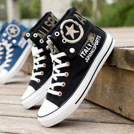 Autumn paragraph canvas shoes men's skateboard shoes sneakers casual shoes bomi nonmainstream and punk mens flanging high help