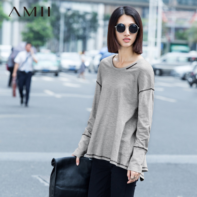 Autumn round neck long sleeve polyester solid conventional models women wild loose big yards creative t-shirt printing bottoming