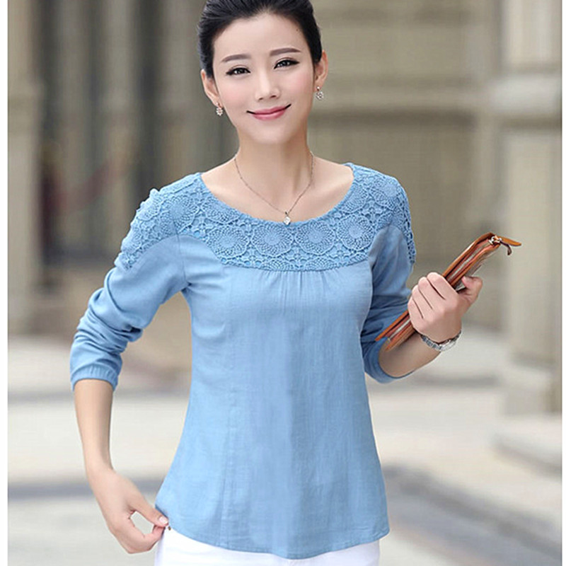 Autumn women's long sleeve t-shirt loose middle-aged 30-40-year-old lace blouse shirt large size korean version of a woman's body