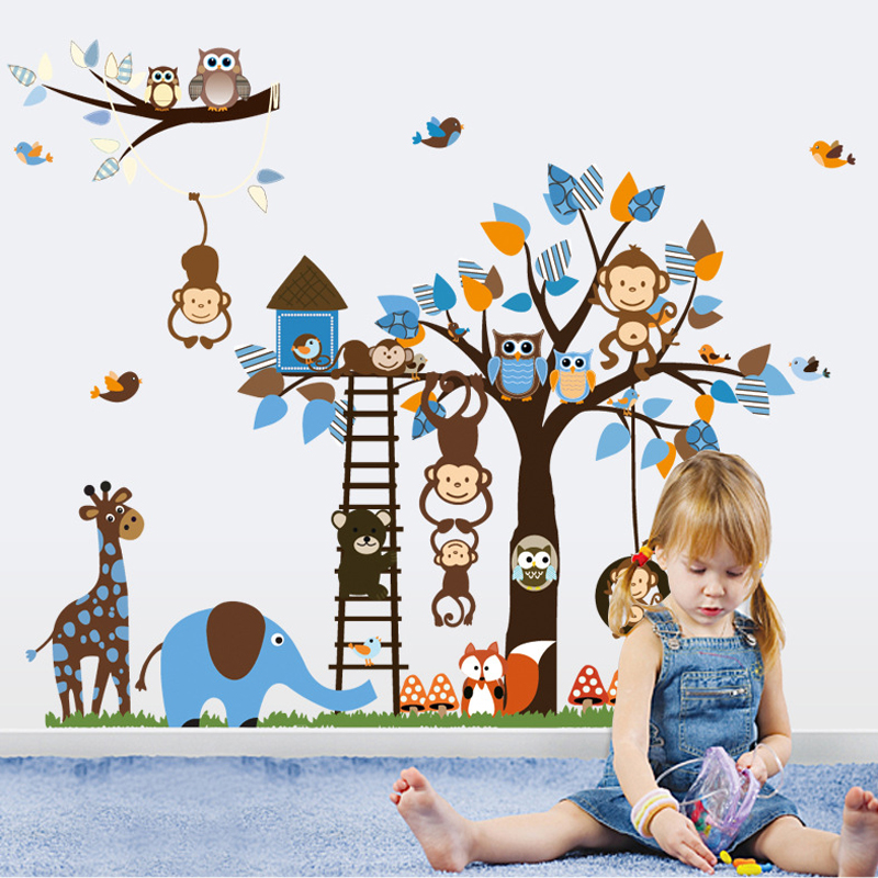 Baby children's room animal park cartoon monkey giraffe tree kindergarten boys and girls bedroom wall stickers stickers painting