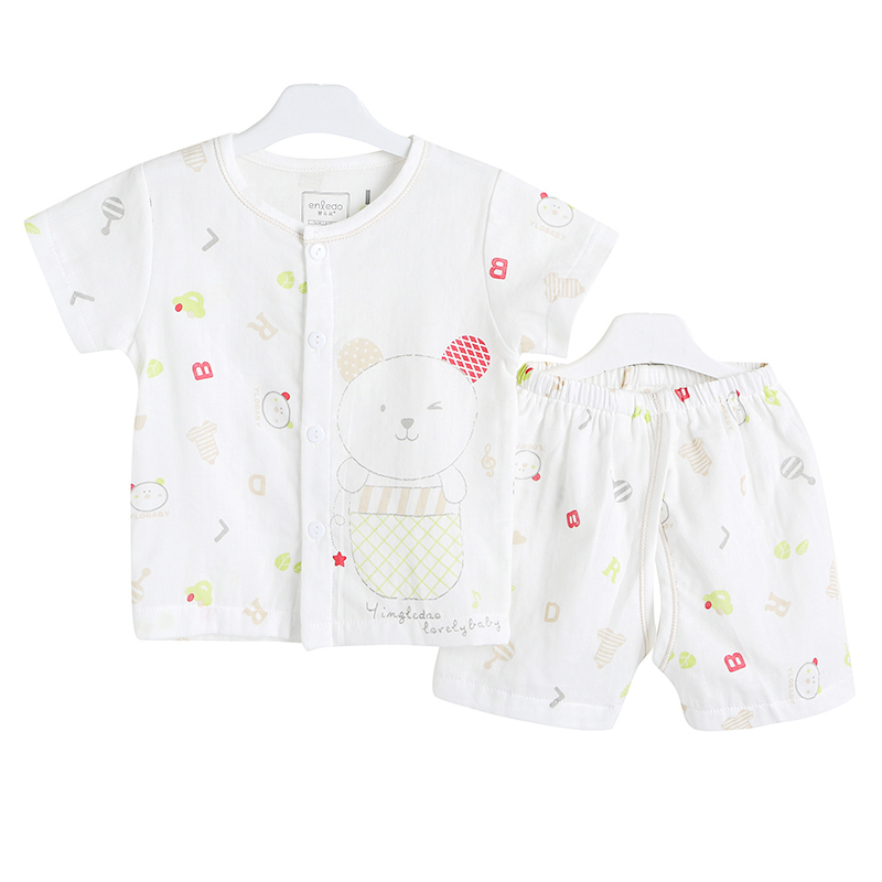 Baby cotton short sleeve suit sleeve cardigan thin summer gauze baby clothes children's summer shorts suit