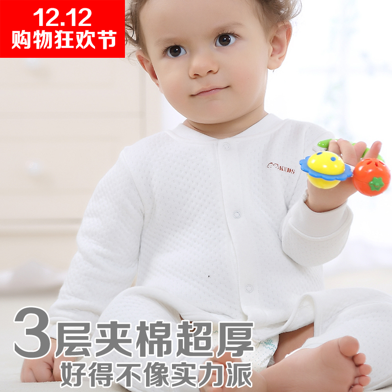 Baby coveralls thick autumn and winter female male baby romper climbing clothes newborn clothes underwear autumn and winter padded folder