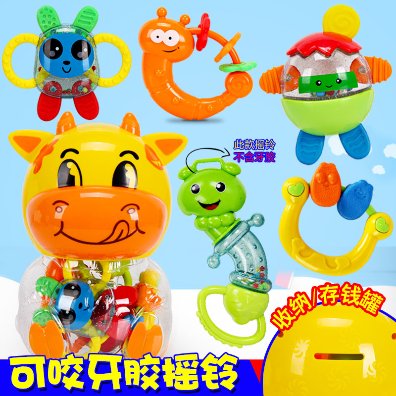 Baby toys 0-1-year-old bottled infant baby teether rattles hand bell rattle toys 3-5-6-12 months