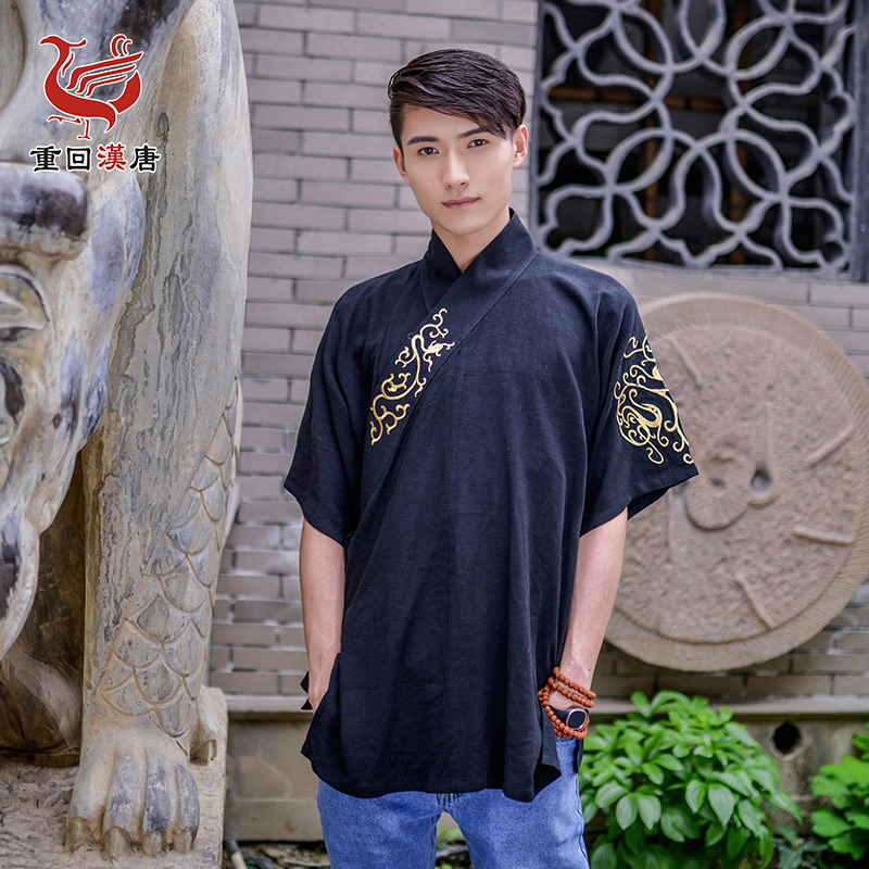 Back to the han and tang dynasties mission original brand daily han chinese clothing men's han chinese clothing cotton embroidered collar pay banbi on a single suit